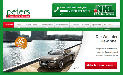 Lotterie Einnahme Werner Peters Screenshot Webseite