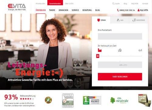 Strom- und Gasanbieter E.VITA Screenshot Webseite
